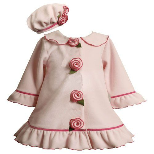 Bonnie Jean Baby/NEWBORN 3M-9M 2-Piece PINK RUFFLE and ROSETTE FLEECE COAT/Jacket/Outerwear and HAT Set