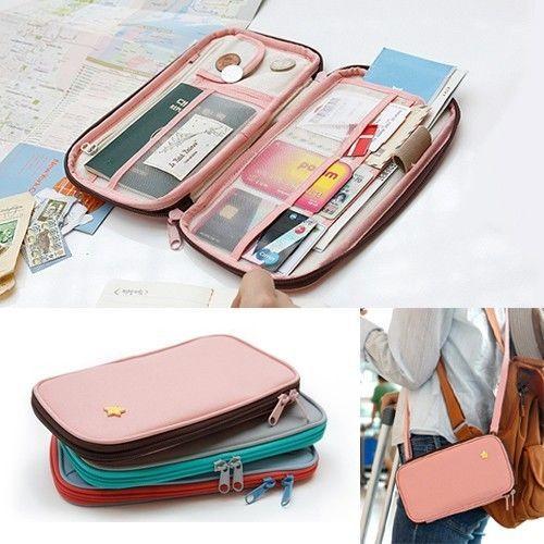 Pink Green Leaves Travel Passport /& Document Organizer Zipper Case