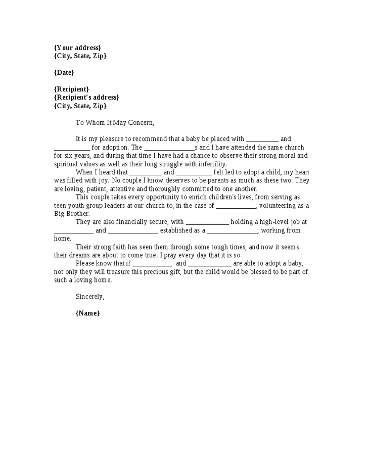 letter of recommendation for adoption example