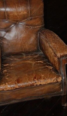 Our Beloved Well Used Leather Pondering Chair Leather