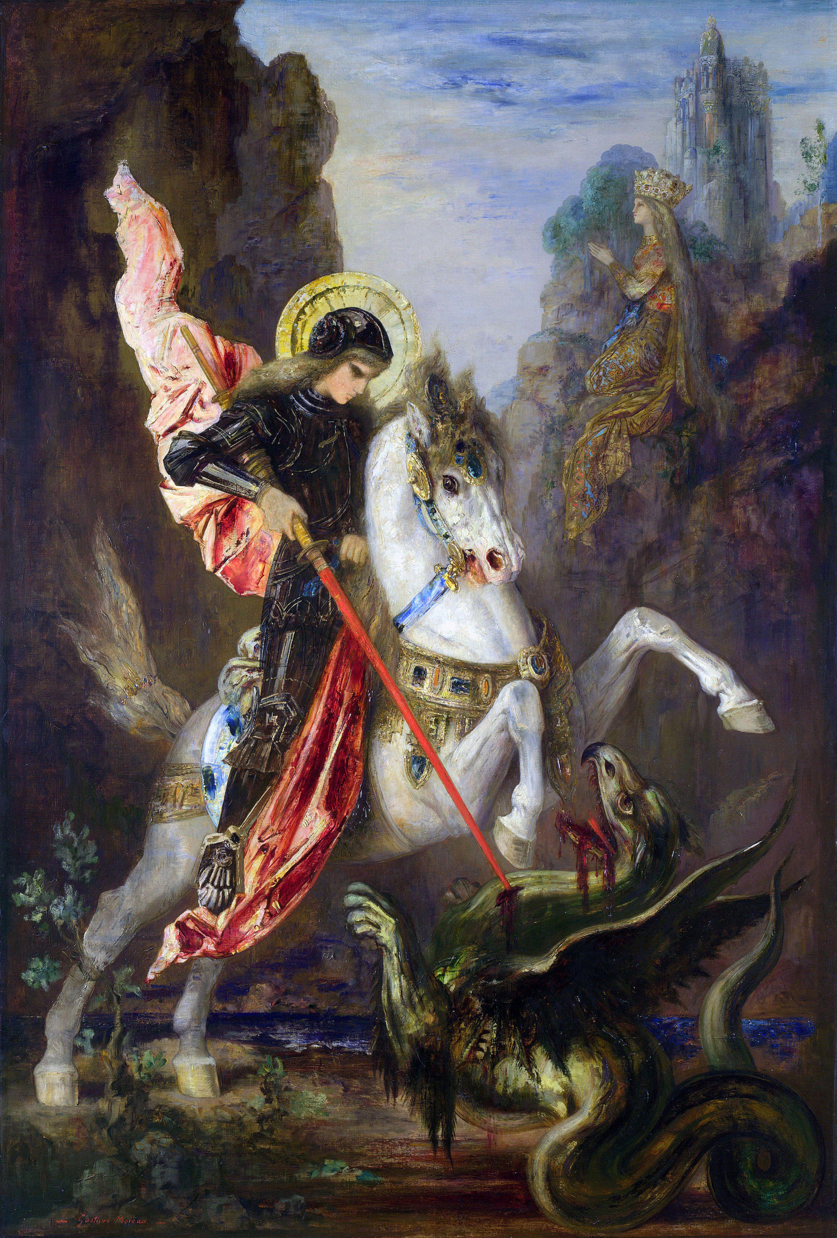 SAN JORGE BENDITO  RUEGA POR NOSOTROS  White Horse - lucho - Dragon - Gallop - Gustave Moreau - pintor francés