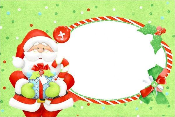Santa en Fondo Verde: Invitaciones para Imprimir Gratis. | Navidad ...