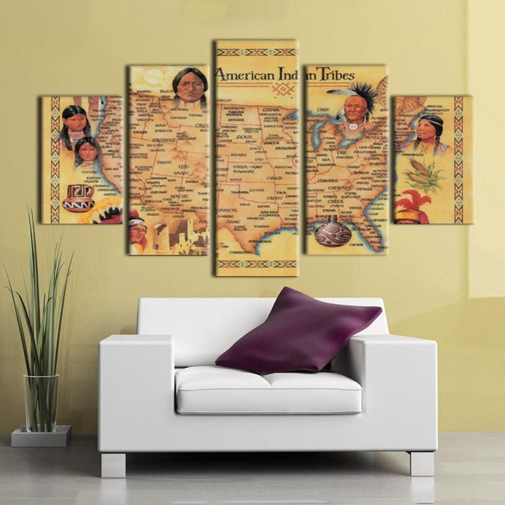 Largest American Indian Tribes Map - 5 Piece Canvas | Indian tribes ...