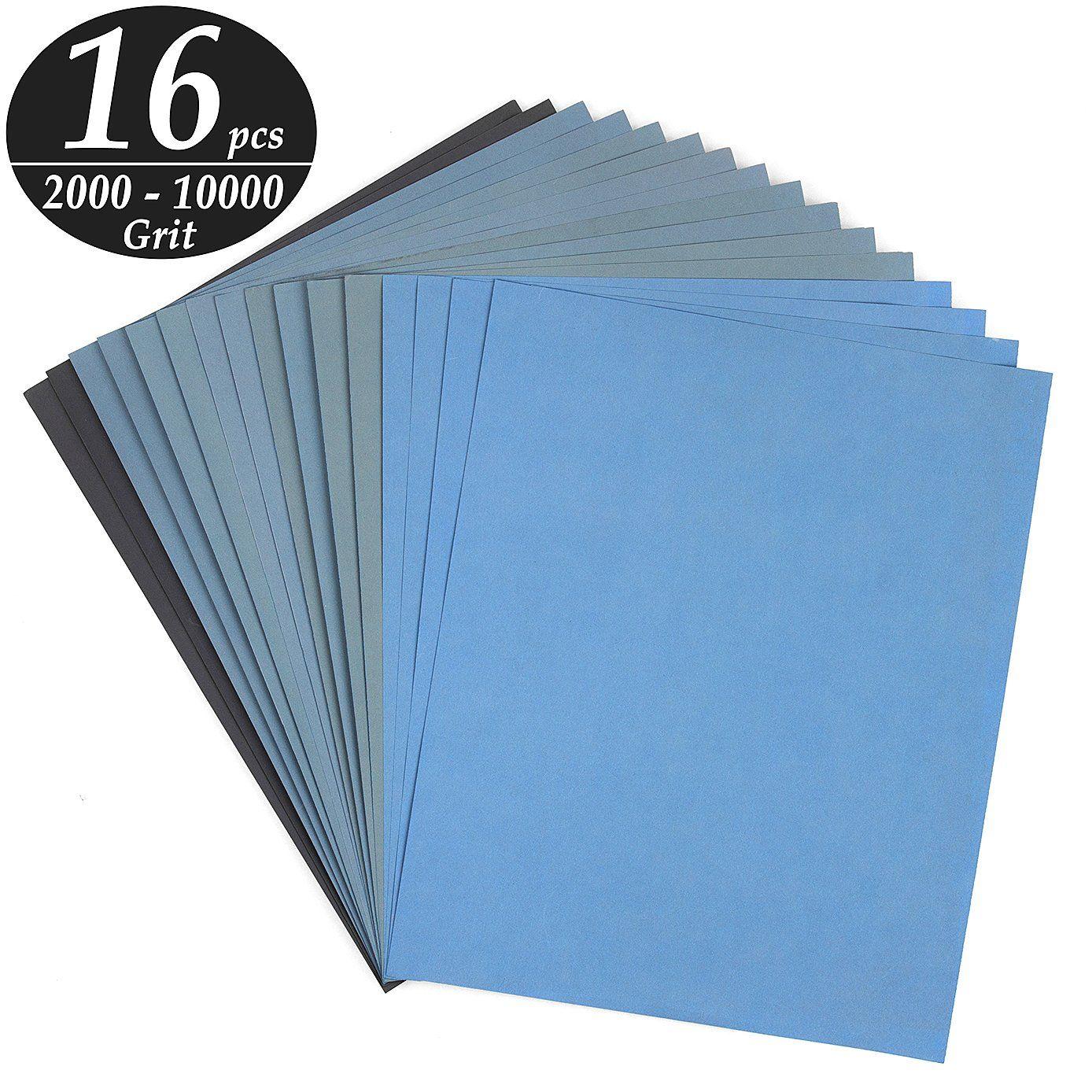 Advcer 9x11 Inch 16 Sheets Sandpaper Wet Or Dry 200010000 Grit 8 Assortment Sand Paper Super Fine Abrasi Metal Furniture Furniture Design Sketches Sanding Wood