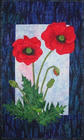Poppy Quilt Pattern - The Virginia Quilter | Quiltscapes - Flowers ... : free flower applique patterns for quilts - Adamdwight.com