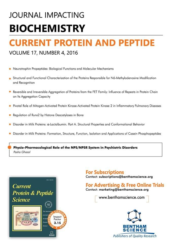 "highlighted article flyer for the journal ""current protein  highlighted article flyer for the journal ""current protein peptide science"" for details"