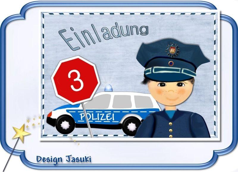 Einladungskarte Kindergeburtstag Polizei Von Jasuki Auf DaWanda.com
