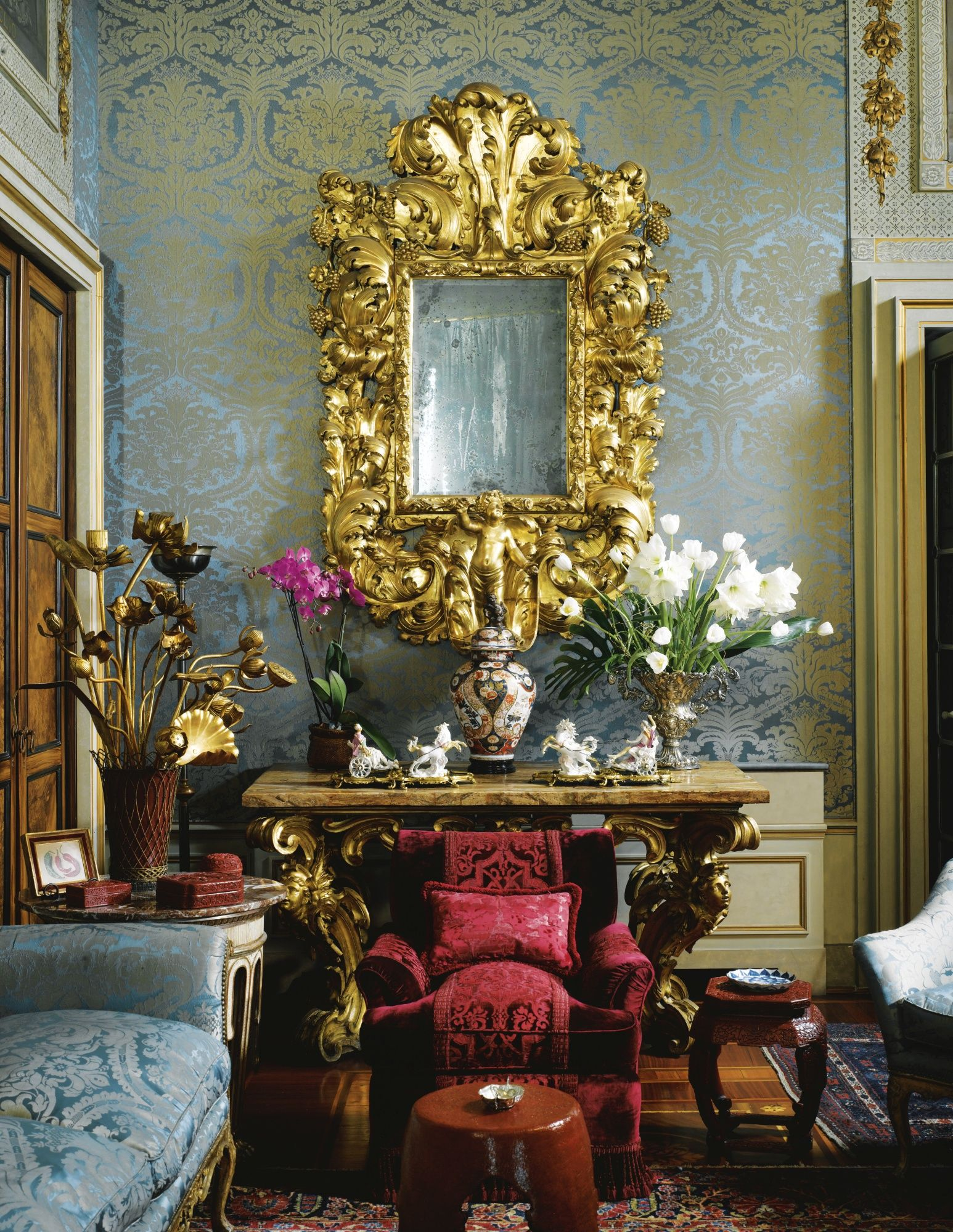 the aristocratic palazzo principe massimo in milan designed by studio peregalli french. Black Bedroom Furniture Sets. Home Design Ideas