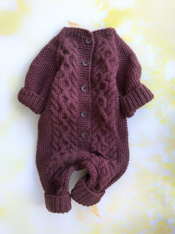 c5772793776b Knit baby jumpsuit Knitted baby romper Newborn knit outfits Wool ...