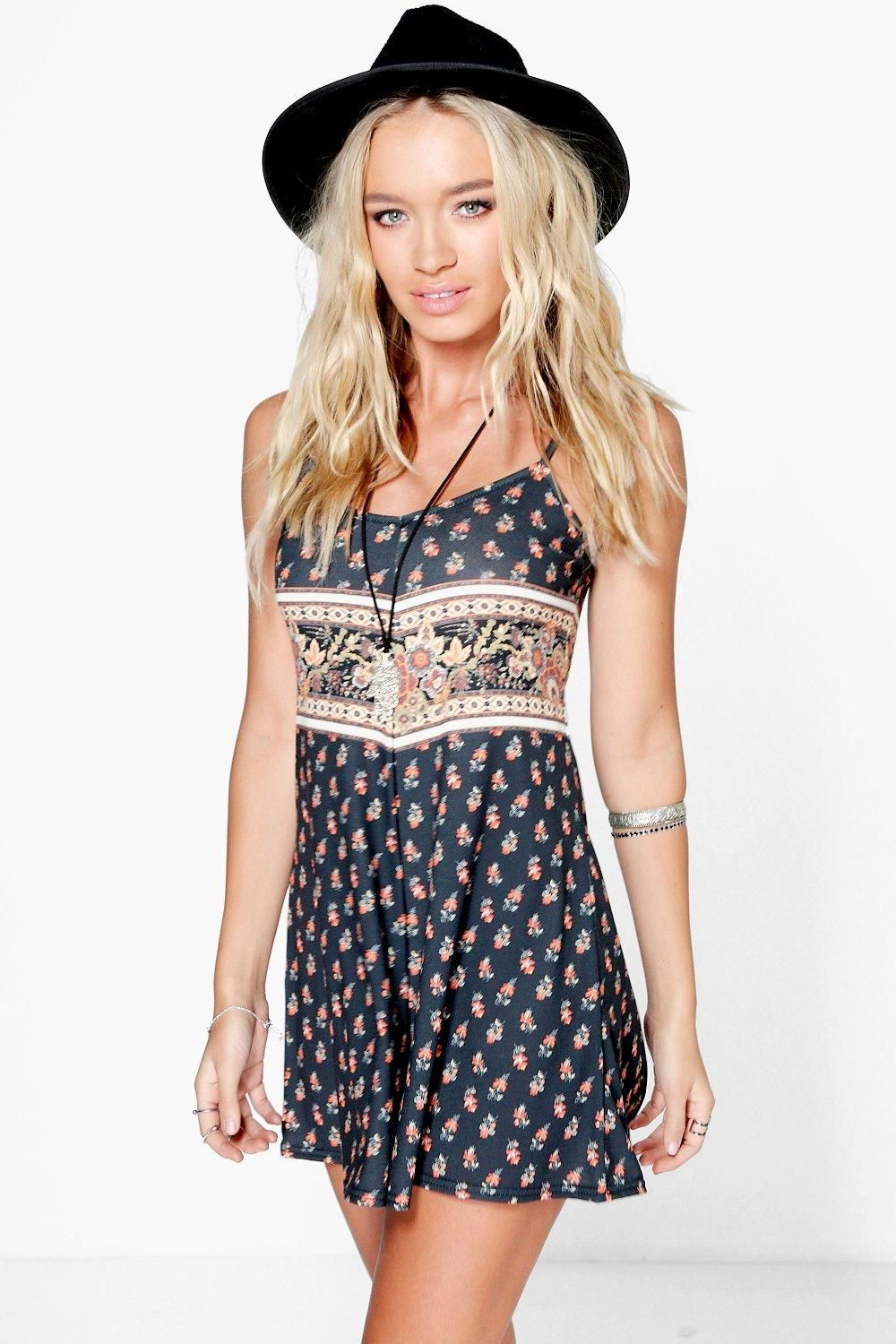 d21a333ac665 Ruby Border Print Strappy Swing Playsuit