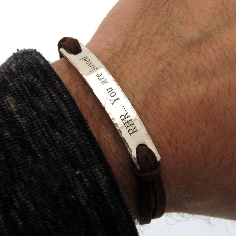 Personalized Men/'s Wrist Bracelet Religious Leather Bracelet Custom Man Cuff Men/'s Personalized Jewelry Men Leather Bangle
