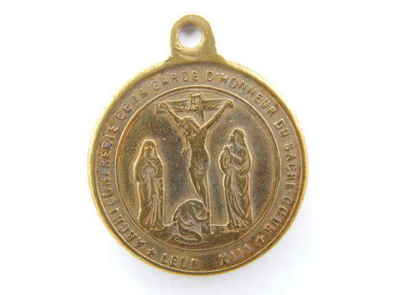 Antique French Archiconfrérie de la Garde D'Honneur Du Sacré-Coeur - Pope Leone XIII Catholic Medal - Religious Charm - Papal Medallion by LuxMeaChristus