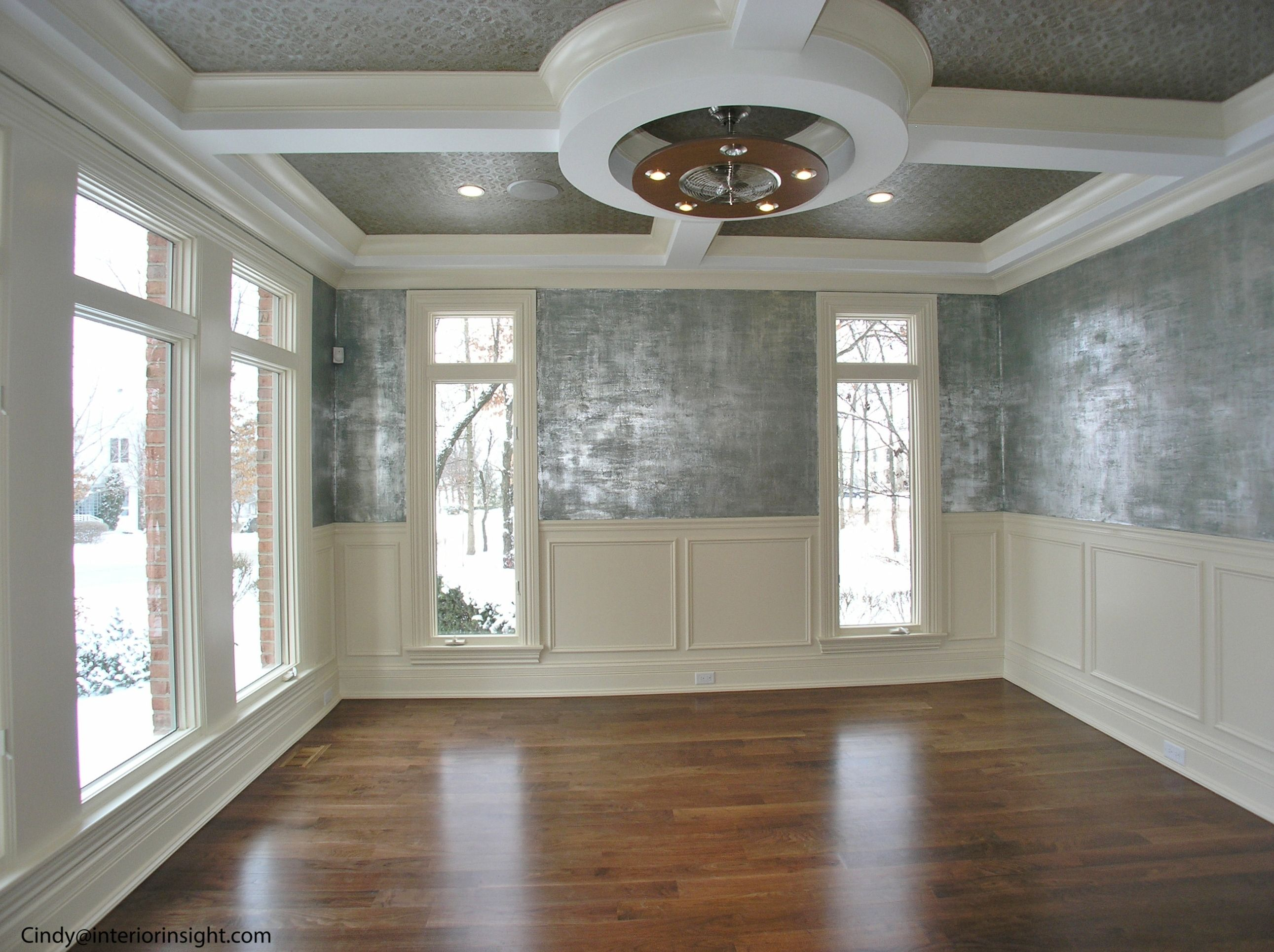 Unusual Wall Finishes : Living room with wainscoting coffiered ceiling metalic