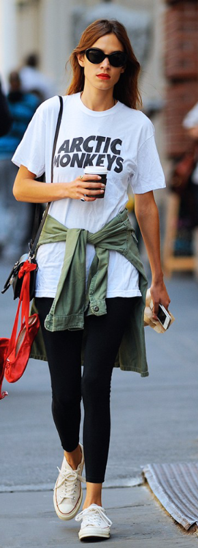 Only Alexa Chung can pull off red lipstick post-gym and look THIS cool