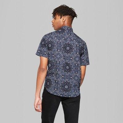 a17187a5cbc Men s Bandana Print Short Sleeve Button-Down Shirt - Original Use Oceanique  2XL