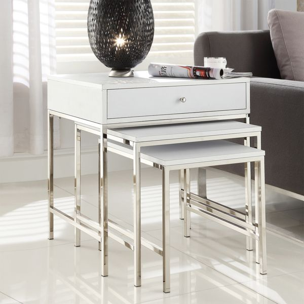 INSPIRE Q Gratten White Nesting Table Metal Accent Table   Overstock™  Shopping   Great Deals