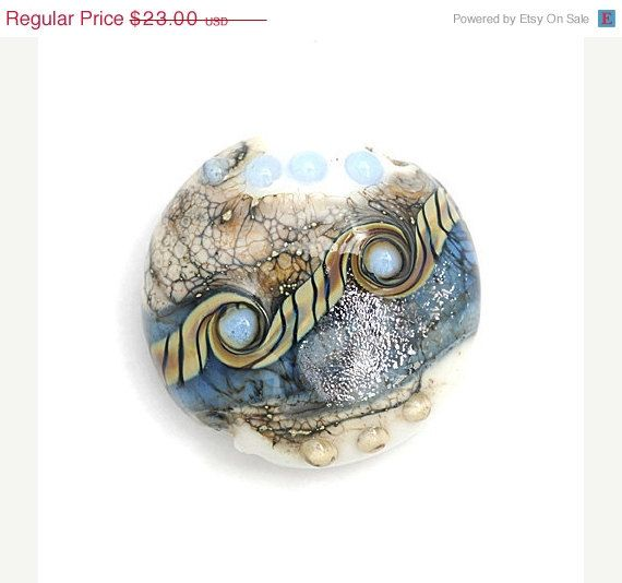 ON SALE 30 OFF Sweet Blue Stardust Lentil Focal Bead by gracebeads, $16.10