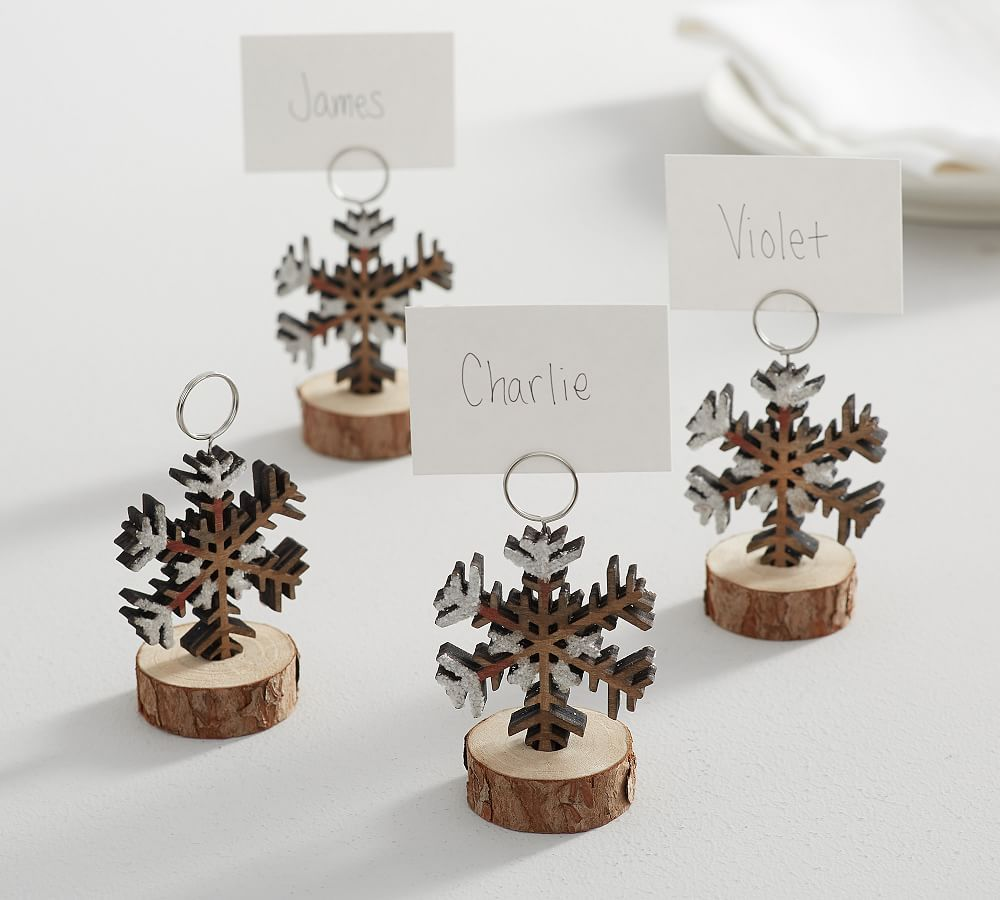 Bark Edge Snowflake Place Card Holder Set Of 4 Place