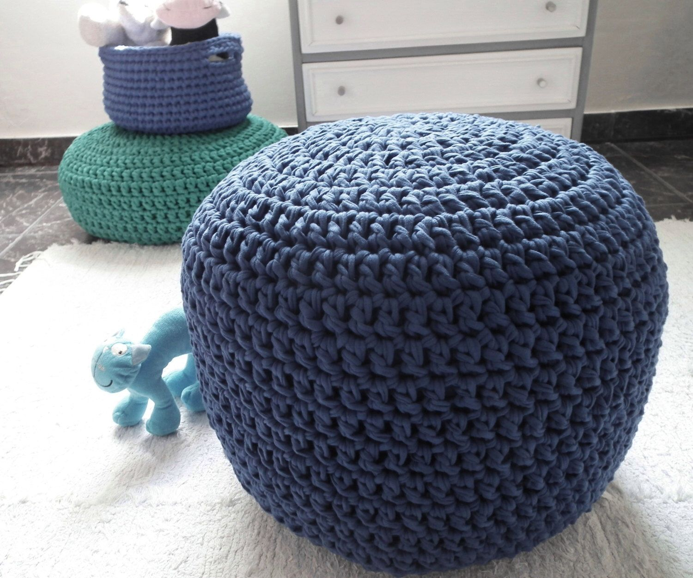 Navy Crochet Pouf-Round Ottoman-Pouf Ottoman-Nautical Nursery ...