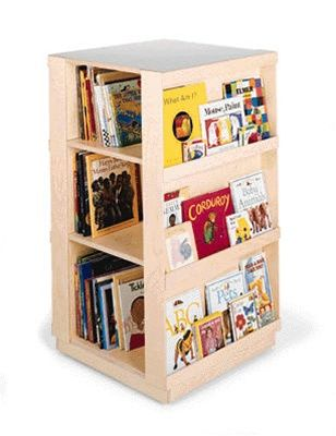 Child Bookcase Big Book 4 Sided Library W Casters