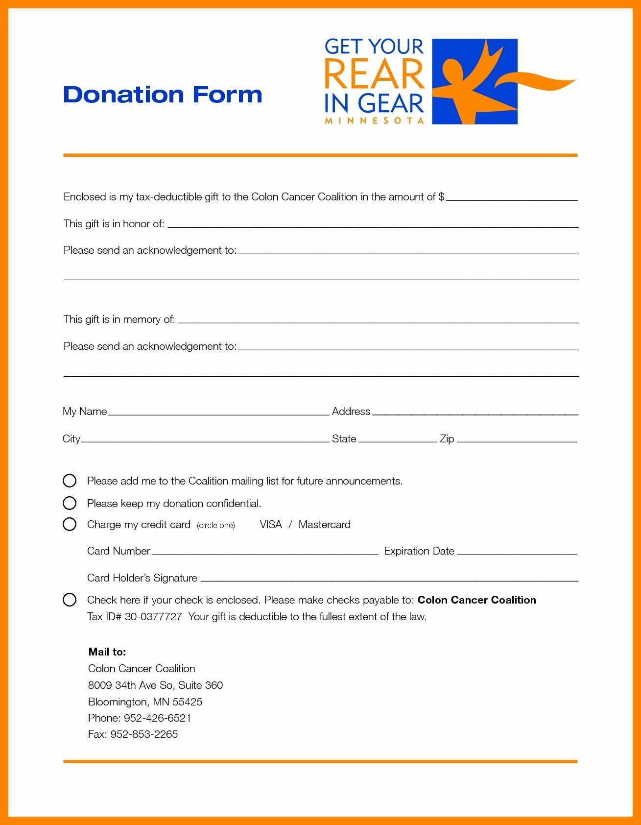 Donor Pledge Card Template In 2021 Donation Form Templates Card Template