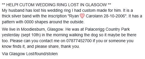 My husband has lost his wedding ring I had custom made for him It