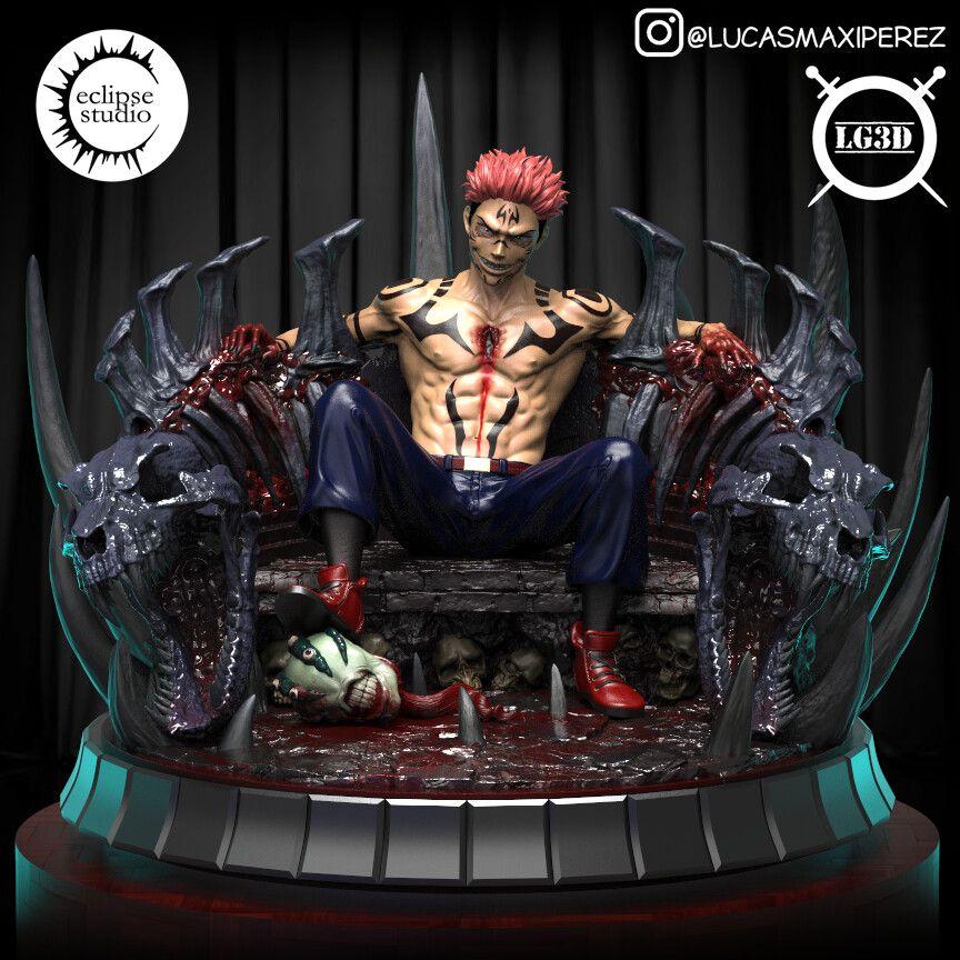 Artstation Sukuna In Throne Jujutsu Kaisen Lucas Perez Maidana In 2021 Anime Figures Anime Figurines Anime Artwork