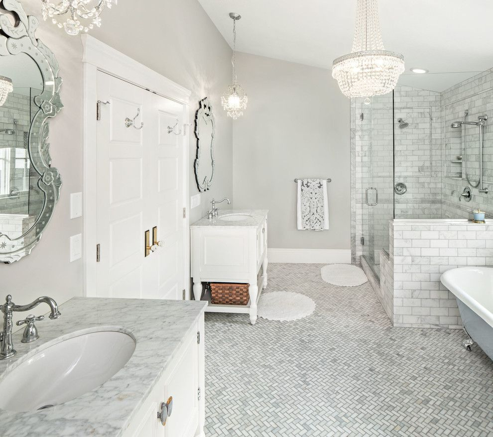 Awesome tile flooring decorating ideas for lovely bathroom awesome tile flooring decorating ideas for lovely bathroom traditional design ideas with baseboards carrara marble chandelier crystal knobs gray walls doublecrazyfo Gallery