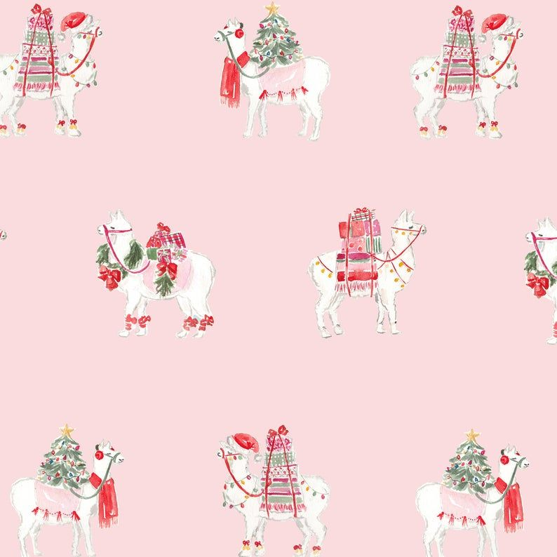 Christmas Wrapping Paper Pink Llamas Gift Wrap Party Animal Etsy Holiday Wrapping Paper Christmas Wrapping Holiday Gift Wrap