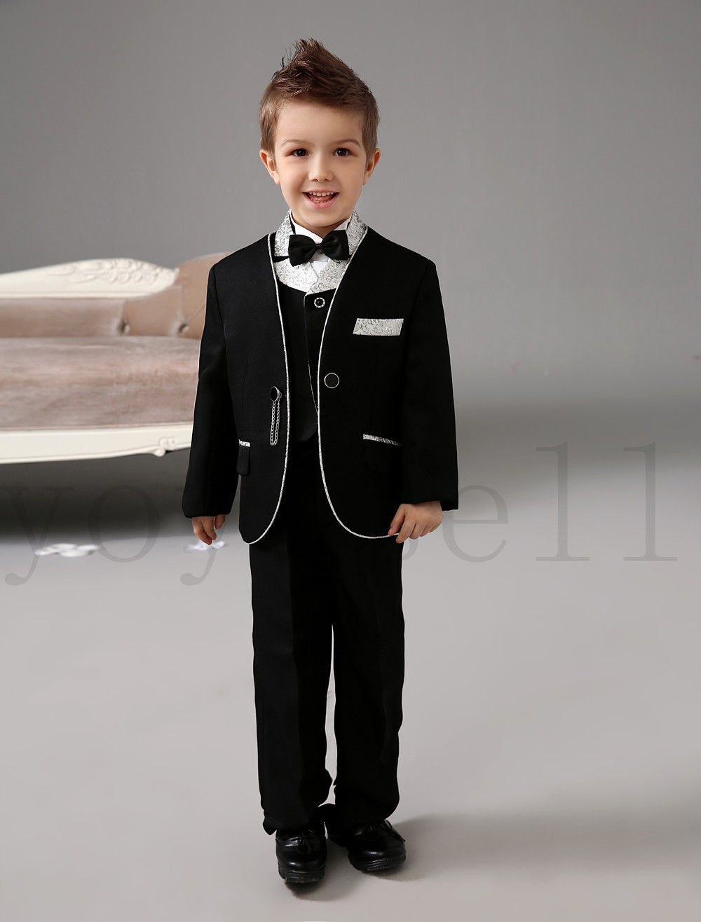 88bafc4c58 Formal Wedding Suit for Kids Black Boys Wedding Party Clothes (Coat+ ...