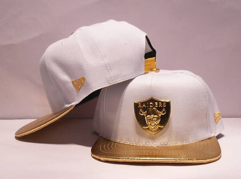 36cc2f1a NFL Adjustable Hats Oakland Raiders White Snapback Hats Gold LOGO ...