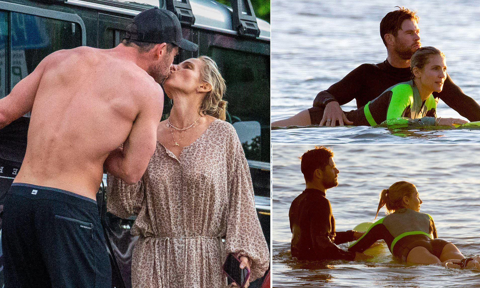 Chris hemsworth kisses elsa pataky during romantic surf