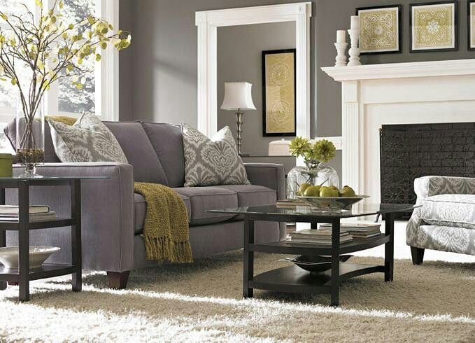 glamorous yellow gray living room | Pretty living room in grey and white. Beautiful warm room ...
