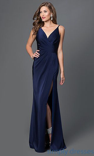 cbe3a47178c0 Shop open-back long black formal dresses at Simply Dresses. Faviana  designer evening dresses with v-necklines, satin skirts and back ruching.