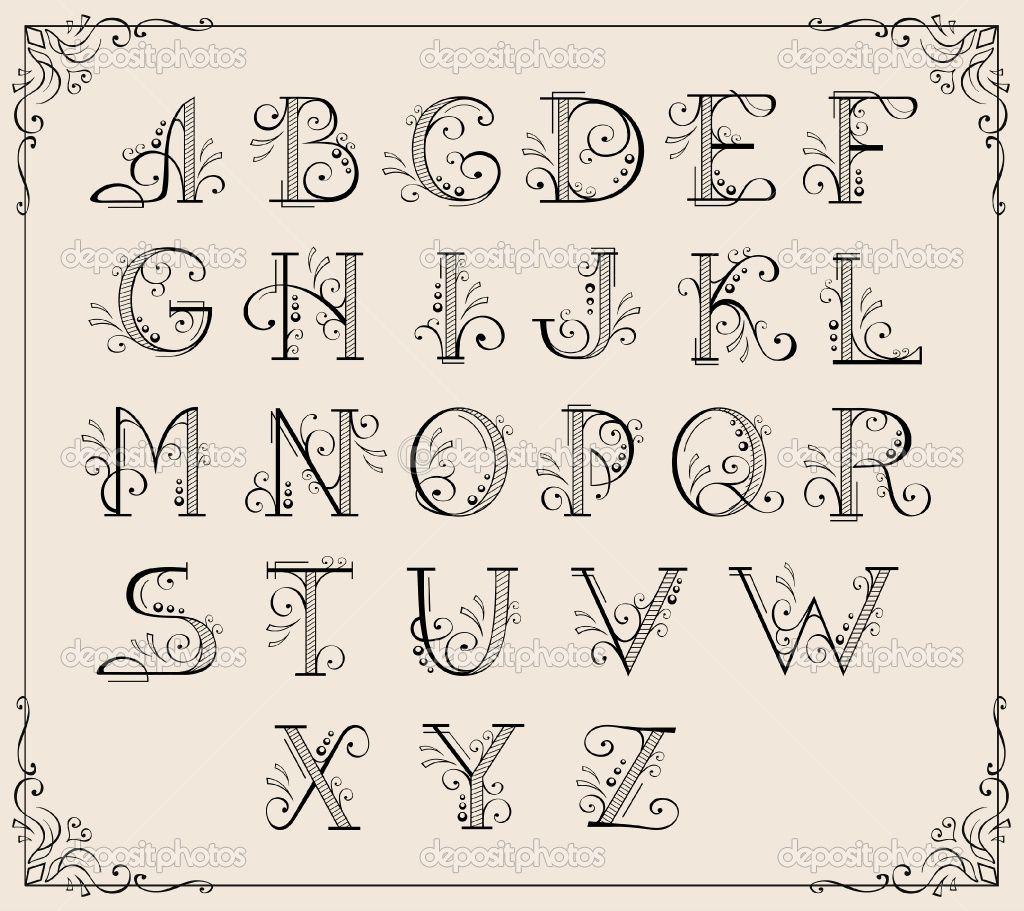 Depositphotos 5743583 Calligraphic Alphabet Jpg 1024 911 Lettering Alphabet Hand Lettering Alphabet Frames