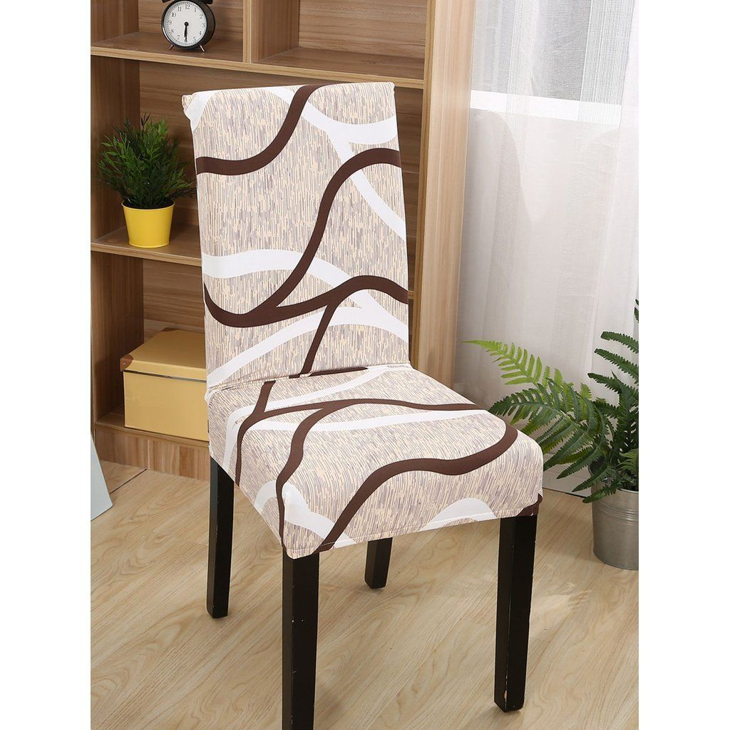 Curve Pattern Stretchy Chair Cover Dining Chair Covers Chair Chair Covers