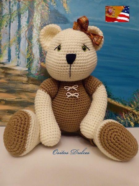 Linda, Patrón Amigurumi en PDF  # Osito Amigurumi # Amigurumis # Bear Pattern #Amigurumi Pattern # osito a crochet #  Me encontrarás en: https://www.etsy.com/es/listing/181478558/linda-patron-amigurumi-en-pdf?ref=shop_home_feat_1   y en: ositosdulcess@gmail.com·