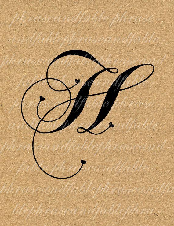 Letter H Hearts 279 Digital Download Alphabet Initial Name