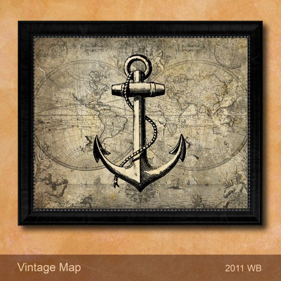 Nautical Naval Ocean Sea Anchor Stained Canvas Design Map Antique Style Custom Frame Decorative Room Home Decor Wall Art Unique Travel Gifts