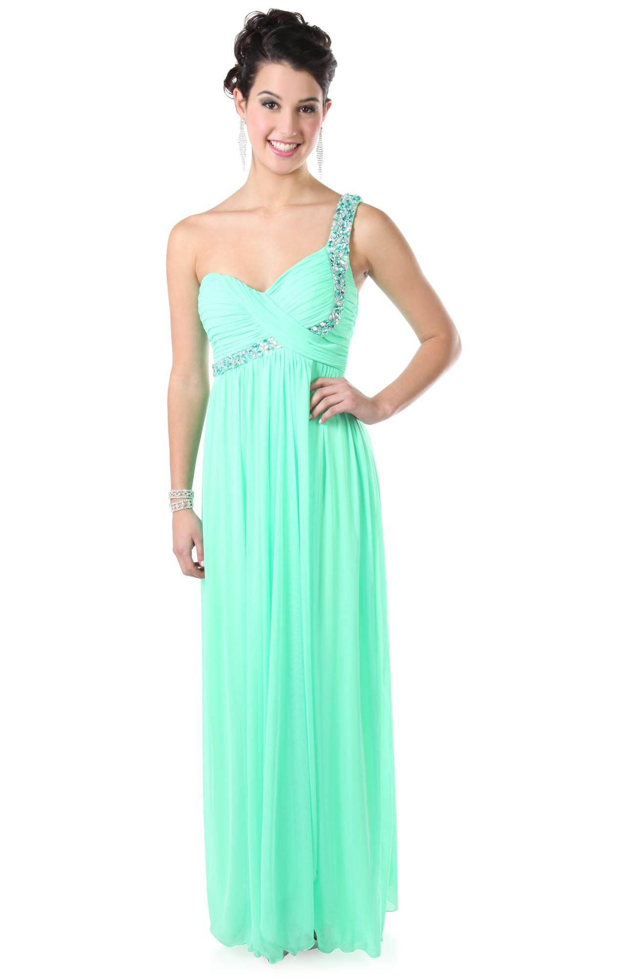 One shoulder stone beaded empire waist baby doll long prom dress