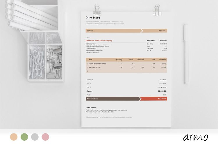 Business Invoice Template - Armo Corporate business and Business - use of an invoice