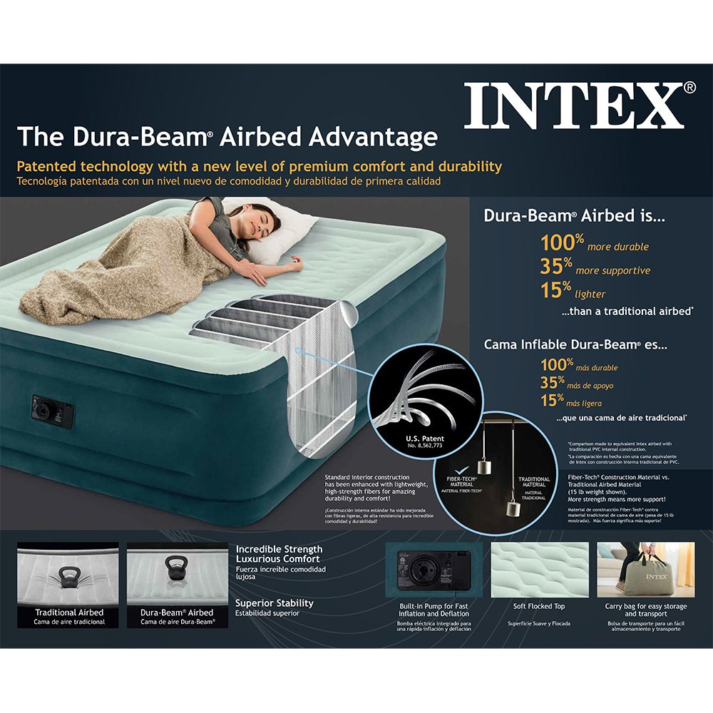 Intex Queen 24 Dream Lux Premium Pillowtop Airbed Mattress With Built In Pump Dream Lux Intex Air Bed Intex Air Mattress