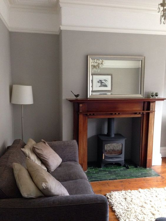 Image Result For Oak Fireplace Gray Walls
