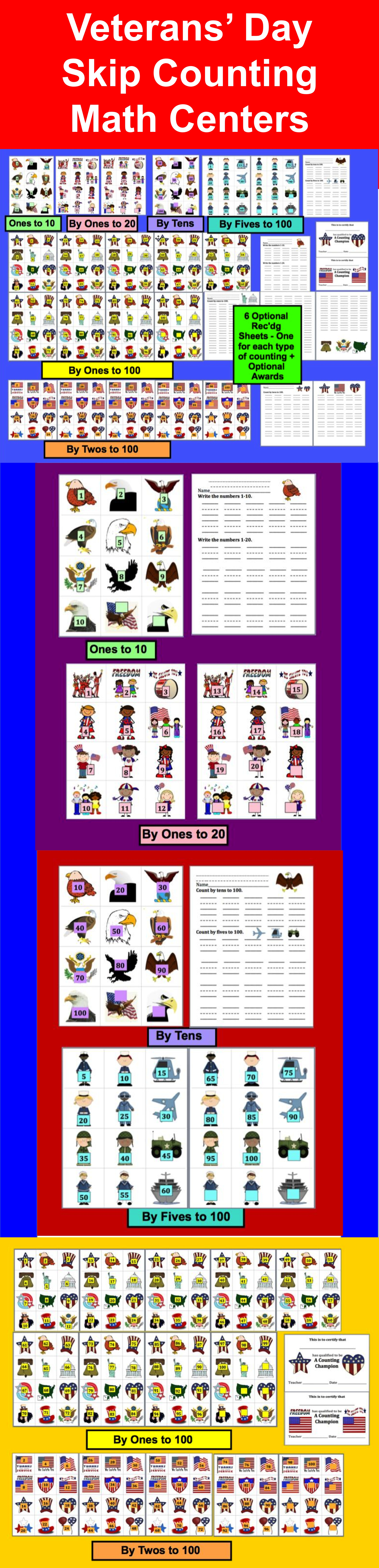 Veterans Day Math Centers Patriotic Counting Amp Skip