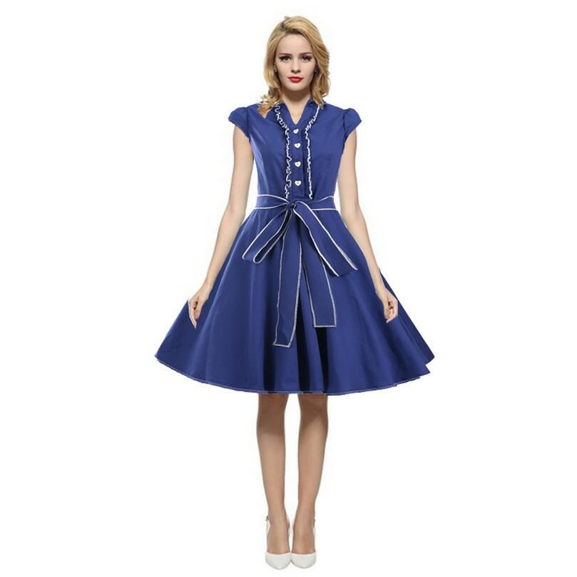 bf15a31748 2017 Vintage Summer Dress Women Robe Rockabilly Feminino Vestidos Hepburn 50s  60s retro dresses Plus Size