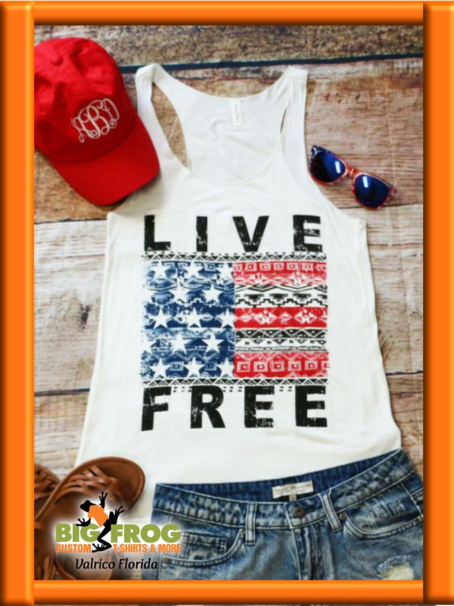Custom Live Free t-shirt. Get one made just for you at #BigFrog in Valrico. Contact us at DesignersValrico@BigFrog.com