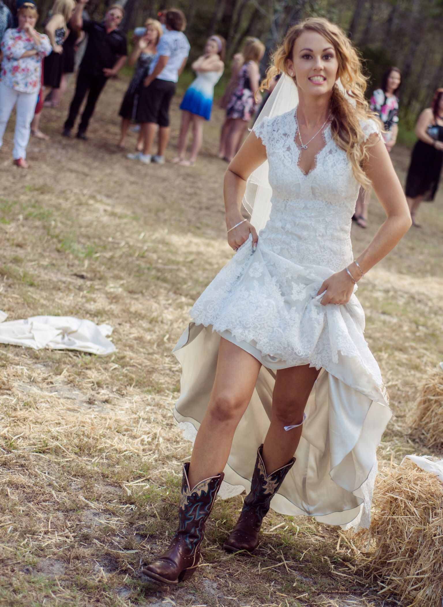 country wedding dress with boots in love with this dress