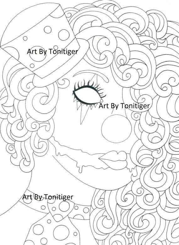 Instant Digital Download Coloring Page Scary Clown Girl Lineart