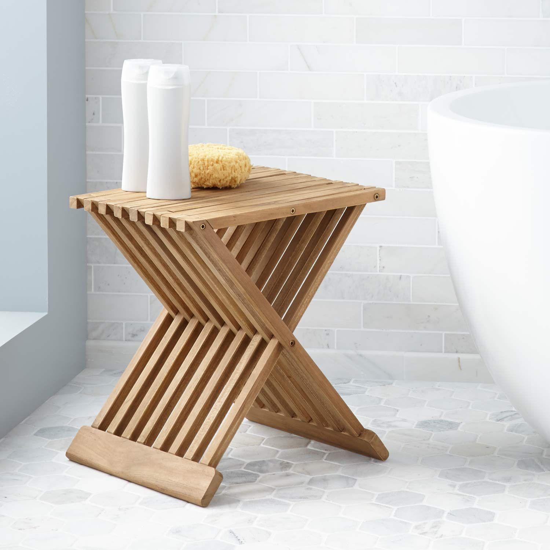 Folding Teak Shower Seat Shower Seats Bathroom Accessories