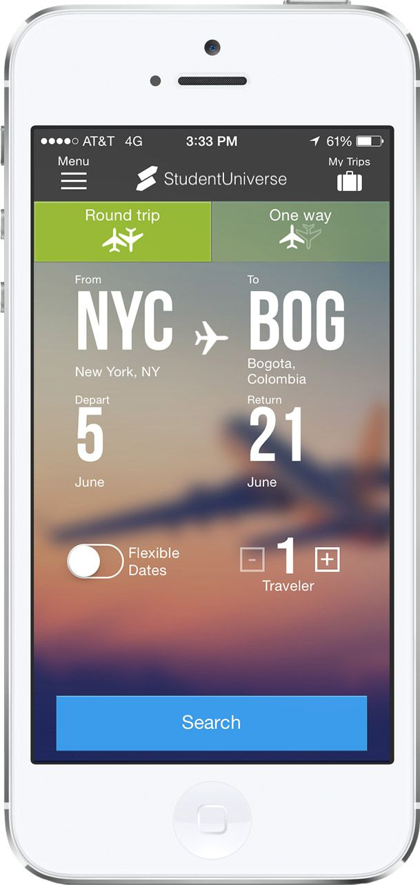 Flights By Studentuniverse Mobile App Example On Phone  Travel